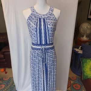 Calvin Klein Blue Maxi Dress Pockets Tribal Print